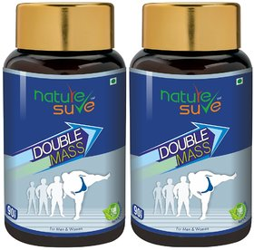 Nature Sure Double Mass Tablets For Weight Gain In Men  Women  2 Packs (90 Tablets each)