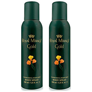 Royal Mirage Body Spray Gold- Pack of 2, 200ml