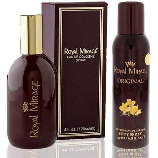 Royal Mirage Eau De Cologne Spray Original, 120ml + Royal Mirage Body Spray Original, 200ml