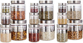 G-Pet Silver Line Container (Set Of 15)  1800ml3, 1200ml3, 500ml3, 250ml3, 100ml3