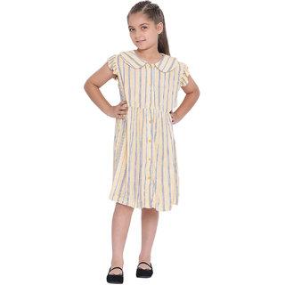 oxolloxo Girl's Viscose Short Sleeve Striped Dress