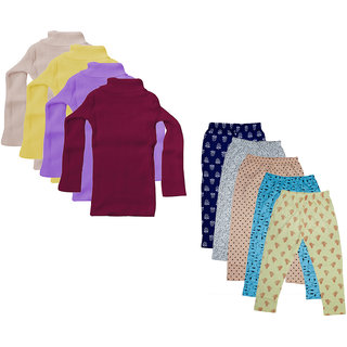 IndiWeaves Girls Winter Wear Super Warm High Neck Skivvy and Cotton Printed Capri (Pack of 9)