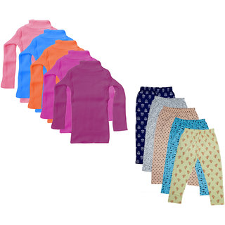 IndiWeaves Girls Winter Wear Super Warm High Neck Skivvy and Cotton Printed Capri (Pack of 10)