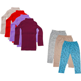 IndiWeaves Girls Winter Wear Super Warm High Neck Skivvy and Cotton Printed Capri (Pack of 7)
