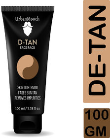 UrbanMooch Organic DeTan Face Pack for Skin Lightening, Tan Removal and Removes Impurities 100ml