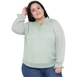 oxolloxo Women's Plus Size Polyester Long Sleeve Solid Top