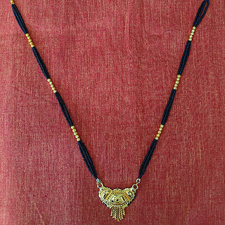 Digital Dress Women's Jewellery Gold Plated Mangalsutra Necklace 32-inch Length Chain Golden Plated Pendant with latkan Traditional Black Mani Beads Double Line Layer Long Mangalsutra For Girls