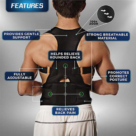 Neoprene Magnetic Lumbar Back Support Eases Pain Energizing Posture support Medium Size PACK OF 1