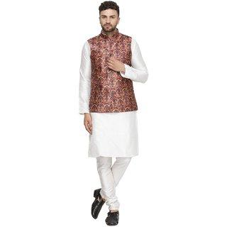 BENSTOKE mens white Printed kurta pajama waistcoat set