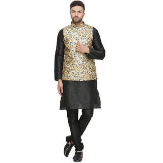 BENSTOKE mens Black Printed kurta pajama waistcoat set