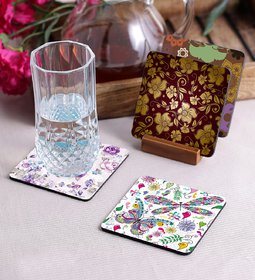 Crazy Sutra Premium HD Printed Standard Size Coasters for Tea Coffee, Cups, Mugs Beer, Cans Bar Glass, Home Kitchen, Office Desk  Set of-4    (Cos-Pattern11)