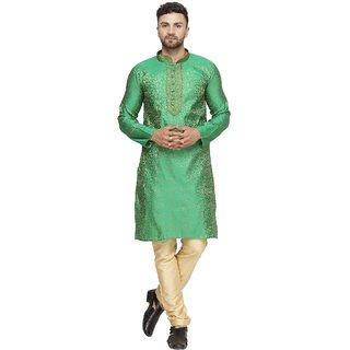 BENSTOKE mens Green jacquard silk kurta pajama set