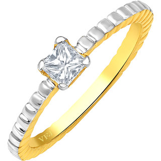 Golden Heart Jewels Gold Plated Single Diamond Alloy & Brass  Ring for Women and Girls [GHFR17G]