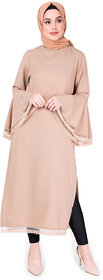 SILK ROUTE London Warm Taupe Bell Sleeve Lace Midi Dress Without Hijab For Women Height 5'8 inch