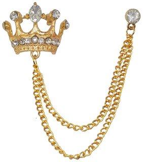 Men style  Crystal King Crown Brooch   (Gold