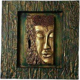 METALCRAFTS Buddha frame, wall hanging, polystone, 35 cm