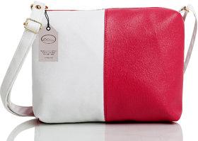 Mammon Women's Pink  White Sling Bag (slg-pw, Size-11x8 inch)
