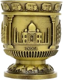 METALCRAFTS Indian Souviner, shot glass, with Indian monument motif, copper colour, 8 cm006