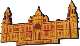 METALCRAFTS Indian Kolkata Souviner, wooden cut fridge magnet, Kolkata Victoria Memorial motif, multi colour, 9 cm