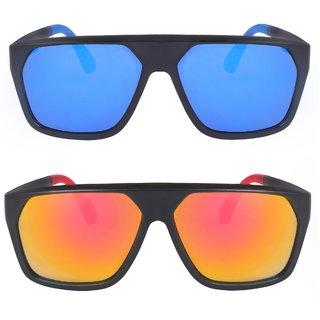 Sunglasses Pack Of 2 Large Size Combo UV Protected Mirror Blue And Orange Rectangular Unisex