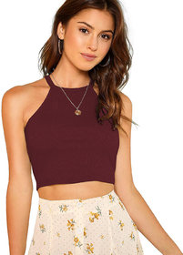 The Blazze 1024 Women's Summer Basic Sexy Strappy Sleeveless Racerback Camisole Crop Top Tops
