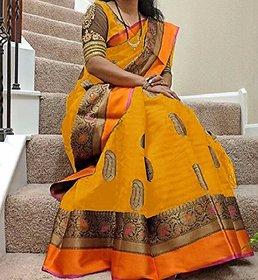 Svb Saree Yellow  Colour Bhagalpuri silk saree
