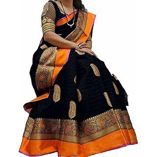 SVB Saree Black Block Print Bhagalpuri Silk Saree With Blouse