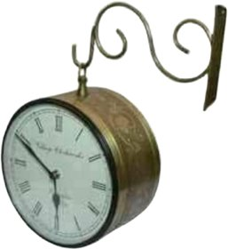 METALCRAFTS Railway Platform dual side clock, brass and copper, 2 cell required, 25 cm