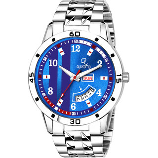 Exclusive Multicolored Blue Dial Day  Date Functioning Analog Wrist Watch - For Men/Boys
