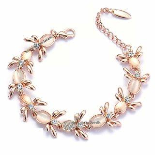 Om Jewells Crystal Jewellery Rose Gold Platted Designer Bracelet for Girls BR1000035