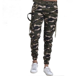 LEZENDARY Men Multicolor Army Green Regular Fit Cargo