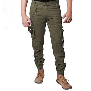 LEZENDARY Men Green Cargo Regular Fit