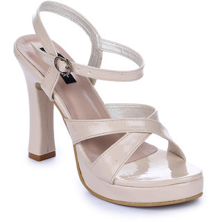 Funku Fashion Women Ankle Strap Beige Block Heel