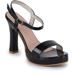 Funku Fashion Women Ankle Strap Black Block Heel