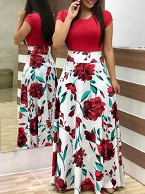Saadhvi White and Red Crepe Floral Print Stitched Gown For Woman