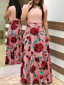 Saadhvi Peach Crepe Floral Print Stitched Gown For Woman