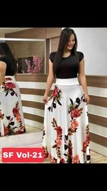 Saadhvi White and Black Crepe Floral Print Stitched Gown For Woman
