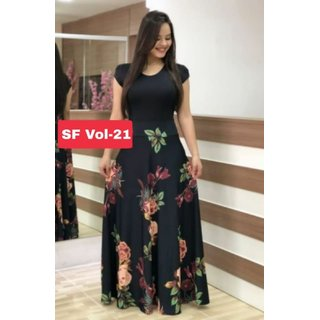 Vkaran Black Crepe Floral Print Stitched Gown For Woman