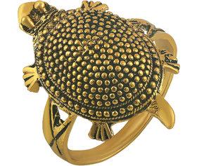 Memoir Gold Plated Brass Balck Dotted Back, Vaastu Fengshui Kachua Tortoise Fashion Finger Ring Good Luck Men Women