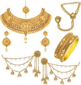 Asmitta Traditional Gold Plated Choker Neckalace Sets With Mangtikka Hathphool Bangle  Earring Combo For Women