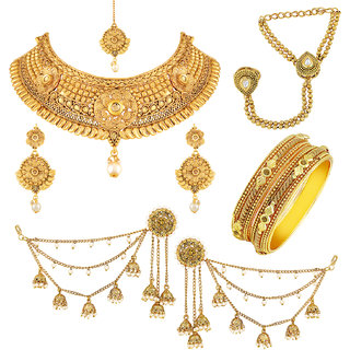 Asmitta Traditional Gold Plated Choker Neckalace Sets With Mangtikka Hathphool Bangle  Earring Combo For Women