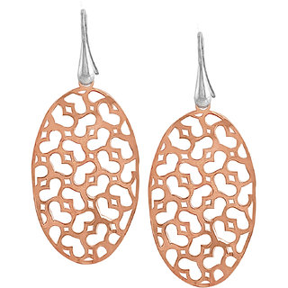 Jewelit by SZ Stylish 92.5 Sterling Silver Rose Gold Earrings for Women and Girls