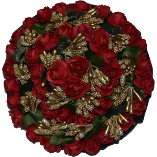 GadinFashion Full Juda Bun Hair Flower Gajra for Wedding and Parties Use for Women in Red Color Pack of 1