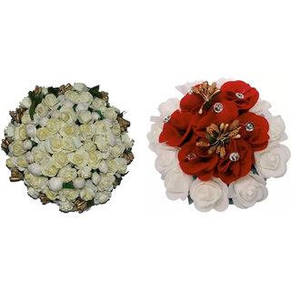 GadinFashion Full Juda Bun Hair Flower Gajra combo for Wedding and Parties Pack of 2