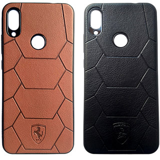 JI MOBI DEALS Back Cover for Redmi Note 7 Pro (Brown and Black) - Pack of 2