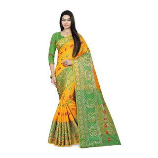 Aurima Womens Silk Jacquard Designer Heavy Border Festive  Party Wear Saree