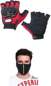 Fashno Combo of Pro Biker Half Riding Gloves and Half Face Mask