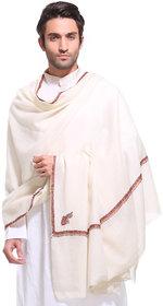Weavers Villa Pure Pashmina Wool Kingri Hand Embroidery Men's Shawl, Lohi Size 54 X 104 Inches