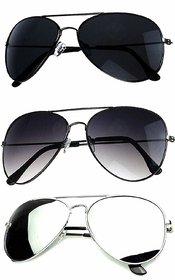Ivonne Pack Of 3 Unisex Aviator Multicolour Mirrored Unisex Sunglasses