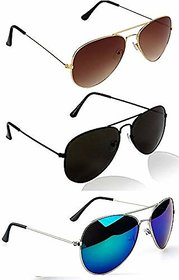 Ivonne Pack Of 3 Aviator Sunglasses Brownblackblue